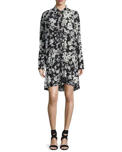 Long-Sleeve Flower-Print Ruffle-Hem Dress