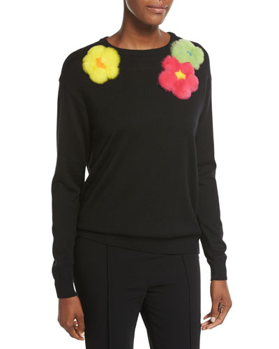 Embellished Fur-Flower Wool Sweater