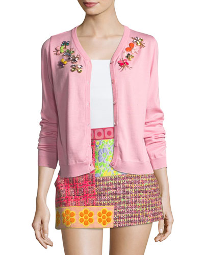 Wool Cardigan w/ Crystal Butterfly Embellishments