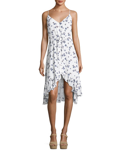 Frida Butterfly-Print V-Neck Belted Dress