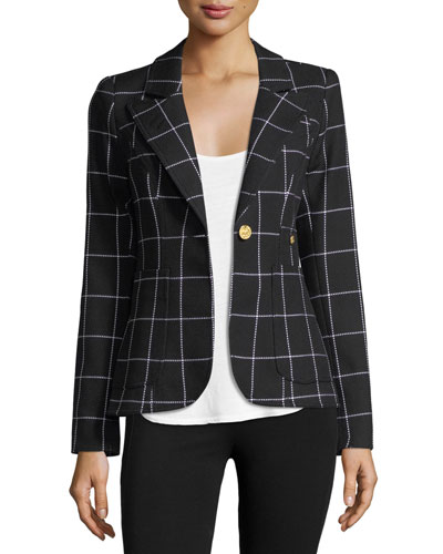 Duchess Grid Single-Button Blazer w/ Leather
