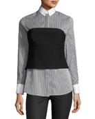 Striped Bustier Long-Sleeve Shirt