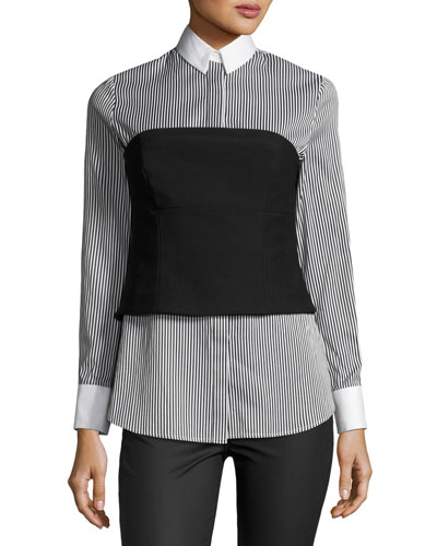 Striped Bustier Long-Sleeve Shirt