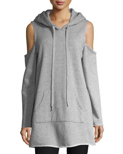Cold-Shoulder Long-Sleeve Hooded Sweatshirt