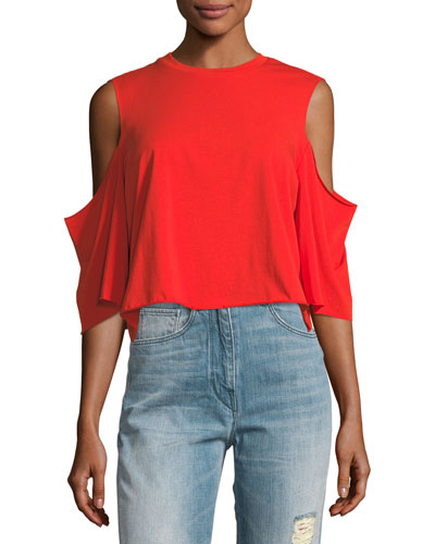 Cutaway Cold-Shoulder Short-Sleeve Tee