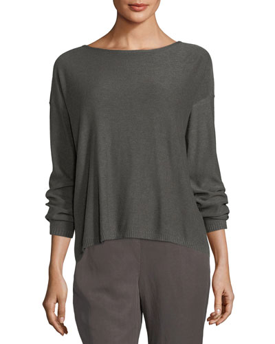 Sleek Long-Sleeve Bateau-Neck Knit Top, Petite