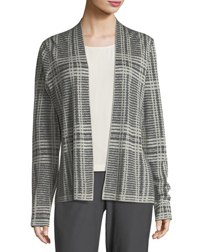 Sleek Printed Tencel®/Merino Shaped Cardigan, Plus Size