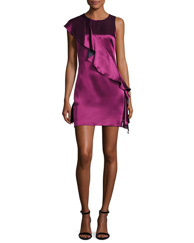 Sleeveless Crossover-Ruffle Satin Cocktail Dress