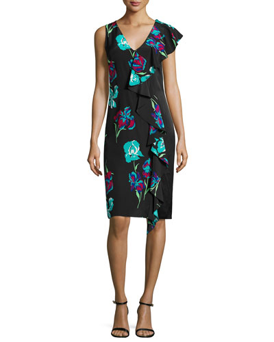 Sleeveless Floral-Print Ruffled Cocktail Dress