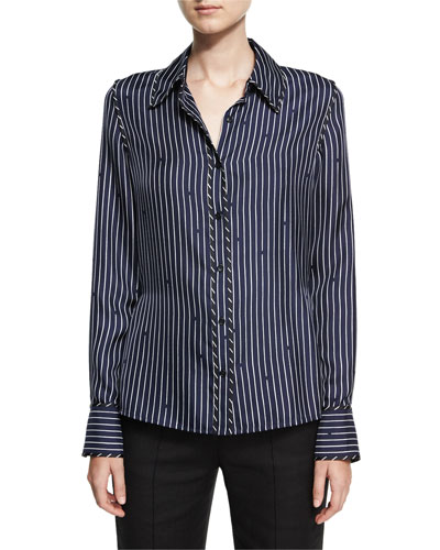 Long-Sleeve Collared Silk Striped Shirt