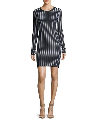 Long-Sleeve Crewneck Knit Dress