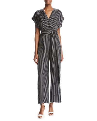 Short-Sleeve V-Neck Striped Silk Jumpsuit