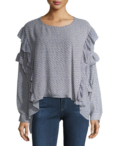 Bijou Long-Sleeve Ruffled Chiffon Blouse