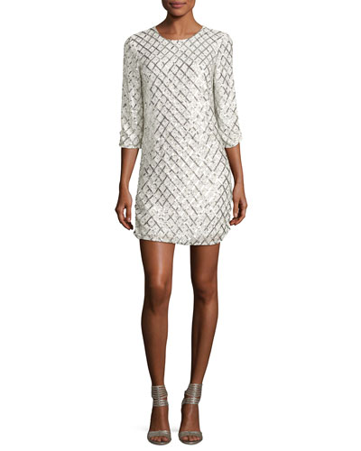 Petra Long-Sleeve Sequined Mini Dress