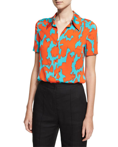 Short-Sleeve Collared Cossier Print Shirt