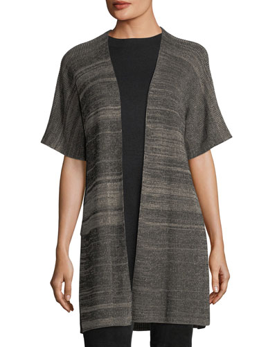 Sleek Elbow-Sleeve Kimono Cardigan, Plus Size