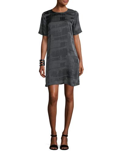 Gaia Printed Silk Boxy Shift Dress