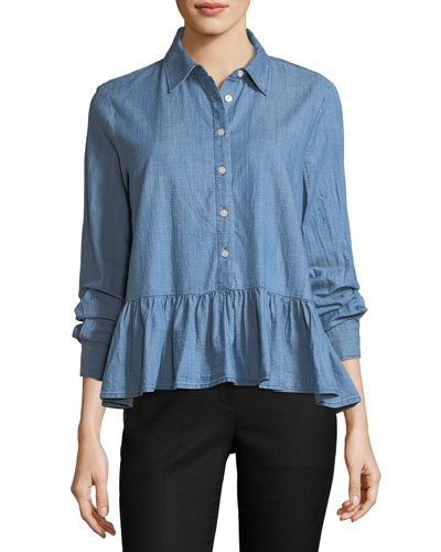 The Ruffle Button-Front Oxford Denim Shirt