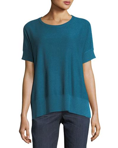 Sleek Short-Sleeve Stretch-Knit Top, Petite