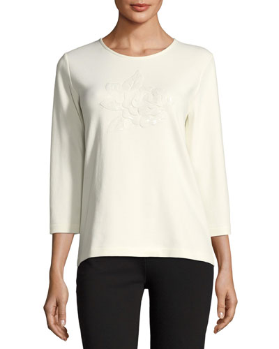 Floral Applique 3/4-Sleeve Tee