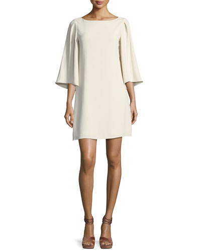3/4-Sleeve Boat-Neck Short Cocktail Dress, Cream