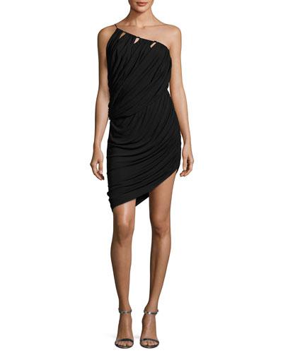 One-Shoulder Asymmetric Draped Jersey Short Dress, Black