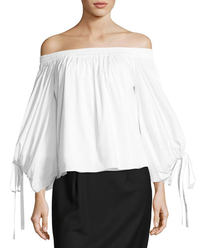 Adeli Off-the-Shoulder Wide-Sleeves Poplin Top