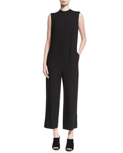 Sleeveless Mock-Neck Jersey Jumpsuit, Plus Size