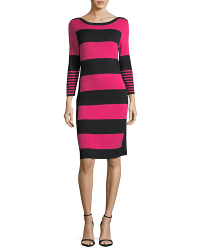 Joan Vass Bold Striped Sweater Dress