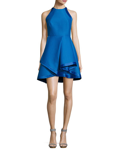 Sleeveless High-Neck Structured Cocktail Dress, Cobalt