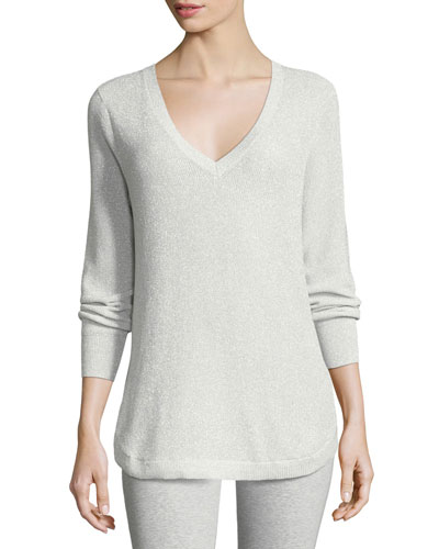 V-Neck Lurex Sweater, Plus Size