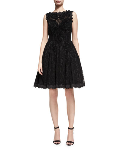 Sleeveless Lace Velvet Fit-and-Flare Cocktail Dress, Black