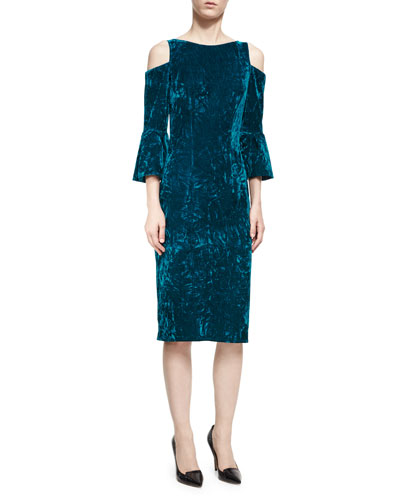 Velvet Cold-Shoulder Sheath Dress, Peacock