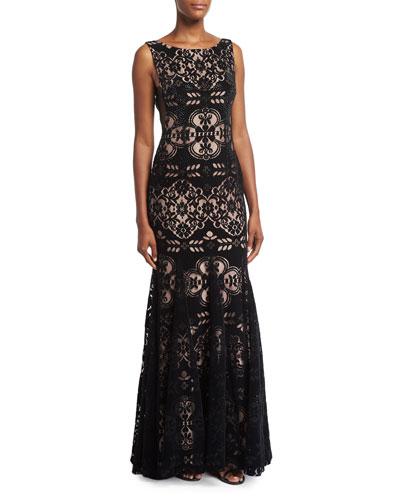 Geo Lace Velvet Bateau-Neck Gown, Black
