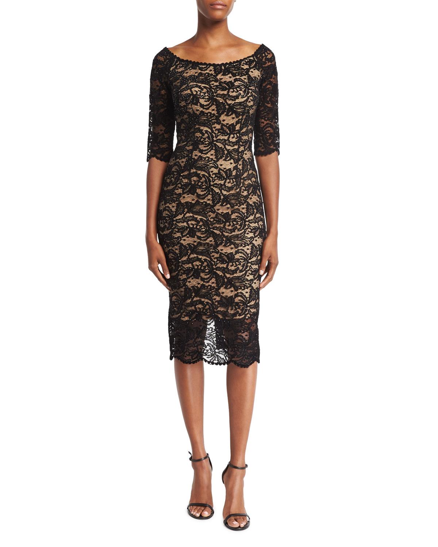 Velvet Lace Cocktail Sheath Dress, Black Nude