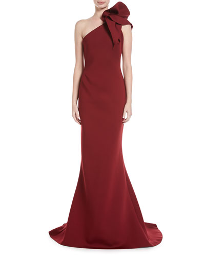 One-Shoulder Bow Mermaid Gown
