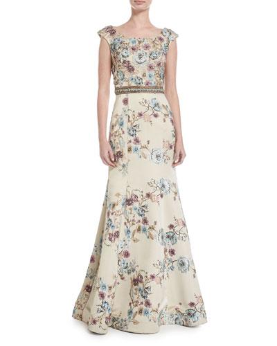 Floral Embellished Boat-Neck A-line Gown