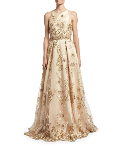 Sleeveless Embroidered Cutout-Back Gown, Champagne