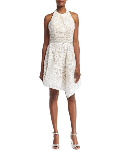 Lace Halter Asymmetric-Hem Cocktail Dress