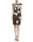 Cap-Sleeve Lace Floral-Embroidered Cocktail Dress