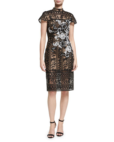 Cap-Sleeve Lace Floral Cocktail Sheath Dress