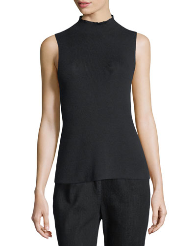 Ribbed Mock-Neck Sleeveless Sweater