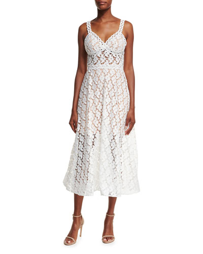 Sleeveless A-Line Lace Midi Dress