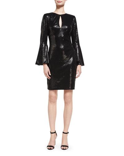 Trumpet-Sleeve Sequin Cocktail Sheath Dress, Black
