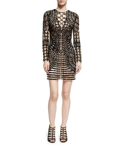 Long-Sleeve Spider Beaded Sheath Dress, Black Nude