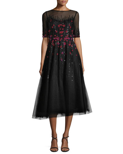 3/4-Sleeve Florals Beaded Tulle Cocktail Dress