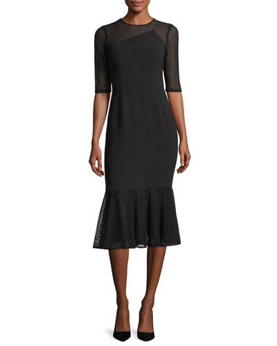 Three-Quarter Sleeve Jewel-Neck Crepe Sheath Dress