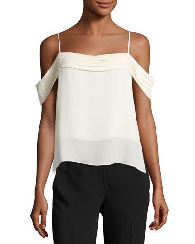 Cold-Shoulder Silk Georgette Top, Black