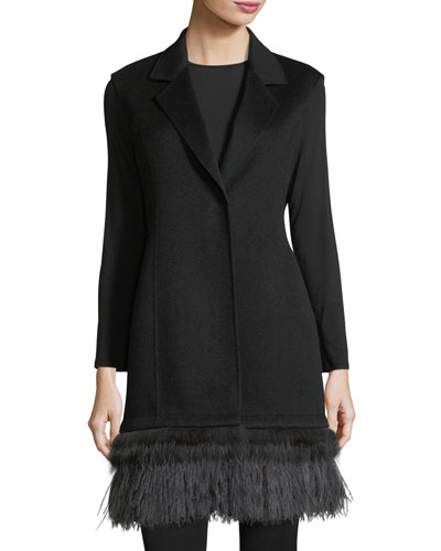 Luxury Double-Face Cashmere Vest w/ Fox Fur & Ostrich Feather Trim