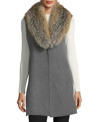 Luxury Double-Faced Cashmere Vest w/ Fox Fur Collar